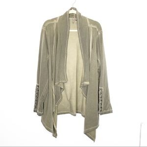Cato Draped Front Distressed Lace Up Cardigan